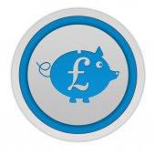 Pound pig circular icon on white background — Fotografia Stock