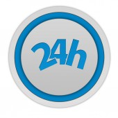 24 hours circular icon on white background — Stock Photo
