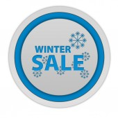 Winter sale circular icon on white background — Stock Photo