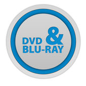 Dvd and bluray circular icon on white background — Stock Photo