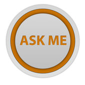 Ask me circular icon on white background — Foto Stock