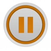 Pause circular icon on white background — ストック写真