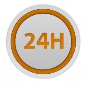 24 hours circular icon on white background — Stock Photo