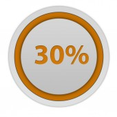 Thirty percent circular icon on white background — Stock Photo