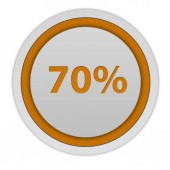 Seventy percent circular icon on white background — Stock Photo