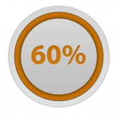 Sixty percent circular icon on white background — Stock Photo
