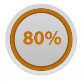 Eighty percent circular icon on white background — Stock Photo