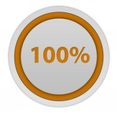 Hundred percent circular icon on white background — Stock Photo
