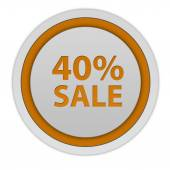 Sale forty percent circular icon on white background — Stock Photo