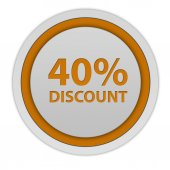 Discount forty percent circular icon on white background — Stock Photo