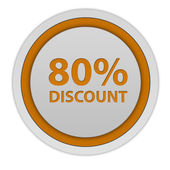 Discount eighty percent circular icon on white background — Stock Photo