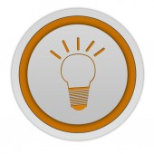 Light bulb circular icon on white background — Foto Stock