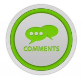 Comments now circular icon on white background — Стоковое фото