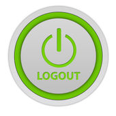 Logout circular icon on white background — 图库照片