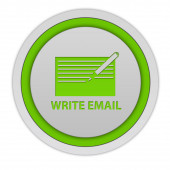 Email circular icon on white background — Stock Photo