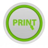 Print circular icon on white background — Stock Photo