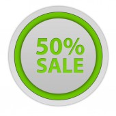 Sale fifty percent circular icon on white background — Stock Photo