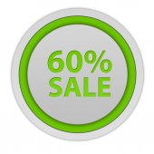 Sale sixty percent circular icon on white background — Stock Photo