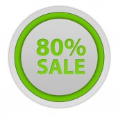 Sale eighty percent circular icon on white background — Stock Photo