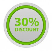 Discount thirty percent circular icon on white background — Stock Photo
