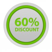 Discount sixty percent circular icon on white background — Stock Photo