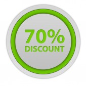 Discount seventy percent circular icon on white background — Stock Photo
