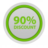 Discount ninety percent circular icon on white background — Stock Photo