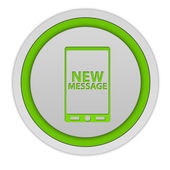 New message circular icon on white background — Stock fotografie