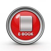 E-book circular icon on white background — Fotografia Stock