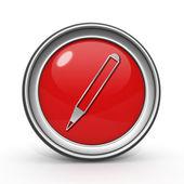 Pencil circular icon on white background — Foto Stock