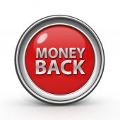 Money back circular icon on white background — Stock Photo
