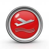 Plane circular icon on white background — Stock Photo