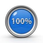 Hundred percent circular icon on white background — Stock Photo #60743429