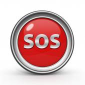 SOS circular icon on white background — Stock Photo