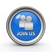 Join us circular icon on white background — Stock Photo