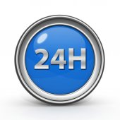 24 hours circular icon on white background — Foto Stock