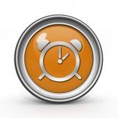 Alarm circular icon on white background — Foto Stock