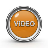 Beyaz zemin üzerinde video dairesel simgesi — Stok fotoğraf