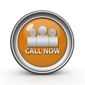 Call now circular icon on white background — Stock Photo