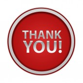 Thank you circular icon on white background — Stock Photo