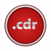 .cdr circular icon on white background — Foto de Stock