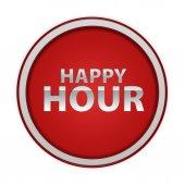 Happy hour circular icon on white background — Stock Photo