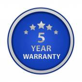 Five year warranty circular icon on white background — Stock Photo