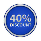 Discount forty percent circular icon on white background — Foto Stock