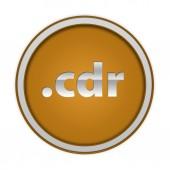 .cdr circular icon on white background — Foto de Stock