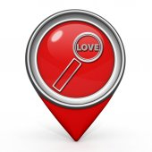 Find love pointer icon on white background — Stock Photo