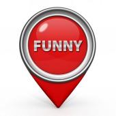 Icona del puntatore divertente su priorità bassa bianca — Foto Stock