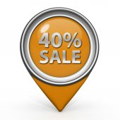 Sale forty percent pointer icon on white background — Stock Photo
