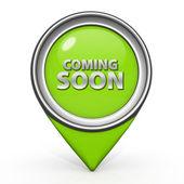 Coming soon pointer icon on white background — Stock Photo