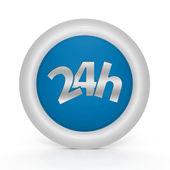 Beyaz arka plan üzerinde 24 saat dairesel simgesi — Stok fotoğraf